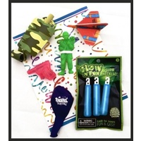 Camo Ready Party Bag - Mini Water Pistol, Paratrooper, Glow Sticks & Glider