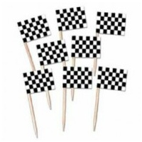 Racing Car Flag Picks - 50 Pkt