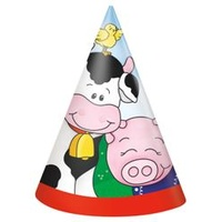 Farm Friends Party Hats - 8 Pack