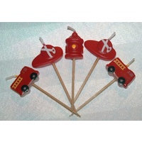 Fireman Pick Candles - 5 piece (Truck, Hat & Hydrant)