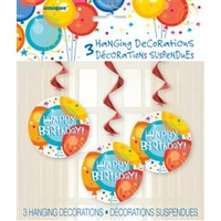 Birthday Pops 3 Swirl Decorations